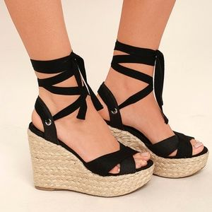 Lulu's Esme Black Lace-Up Espadrille Wedges